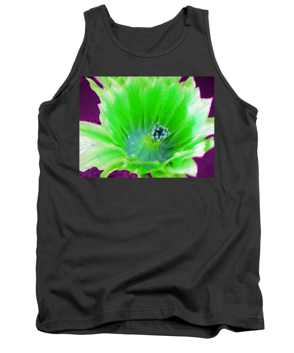 Flower Tank Top featuring the painting Green Cactus Flower by Bruce Nutting
