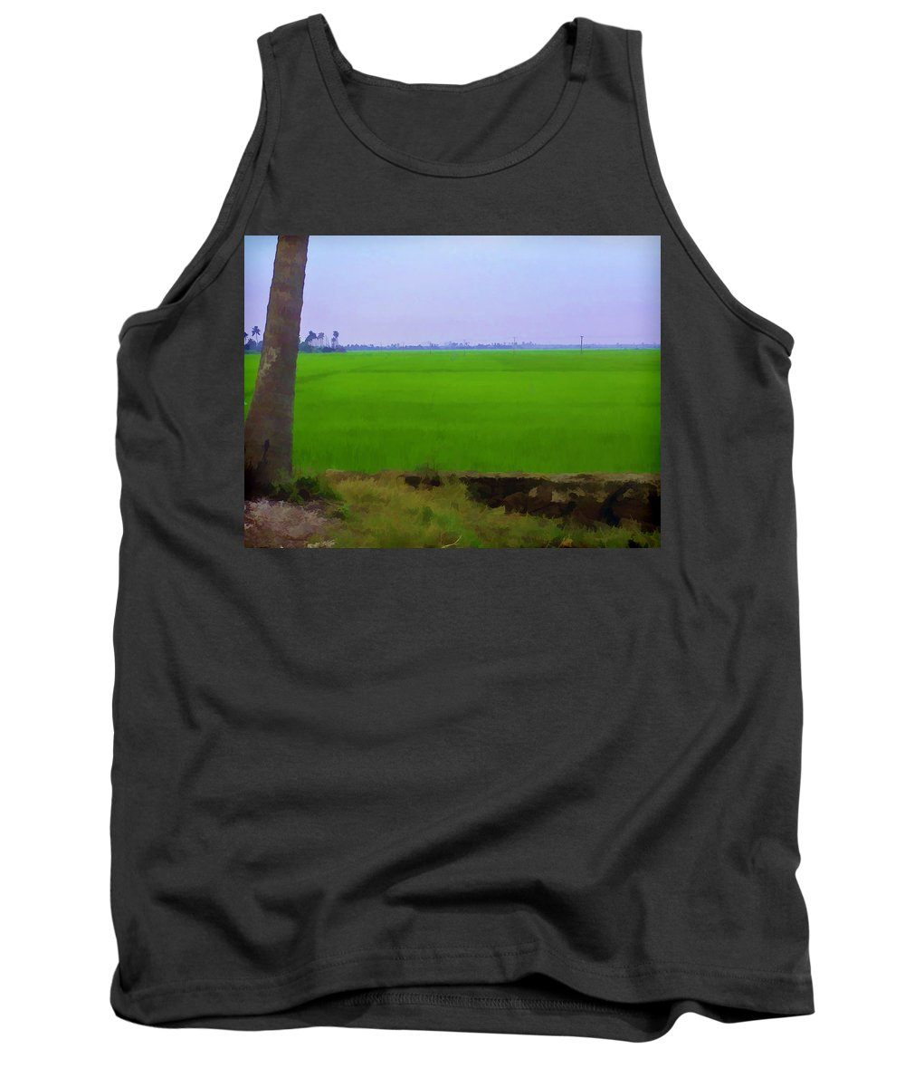 Blue Tank Top featuring the digital art Green Fields With Birds by Ashish Agarwal