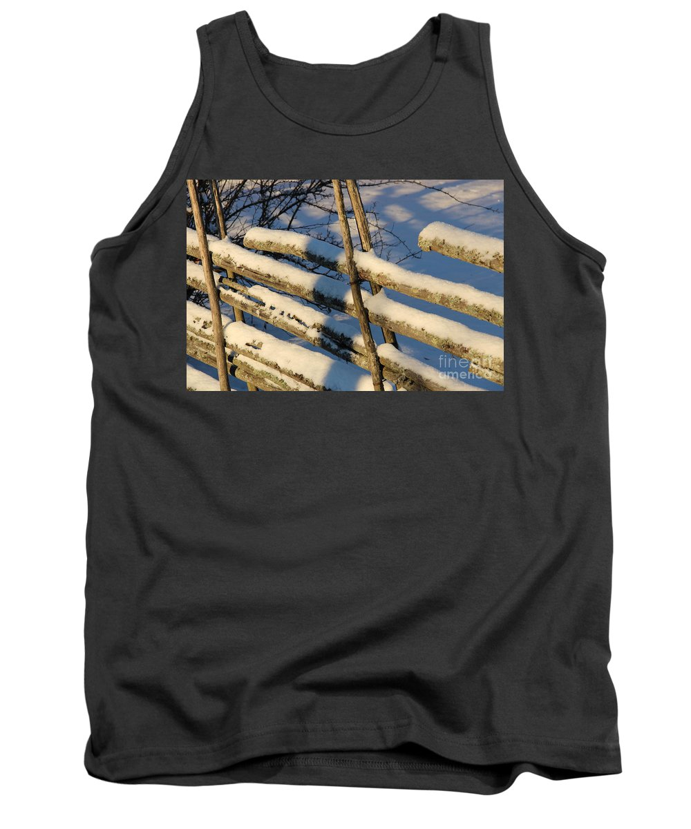 Old Tank Top featuring the photograph Old Swedish Wooden Fence In Winter by Kerstin Ivarsson
