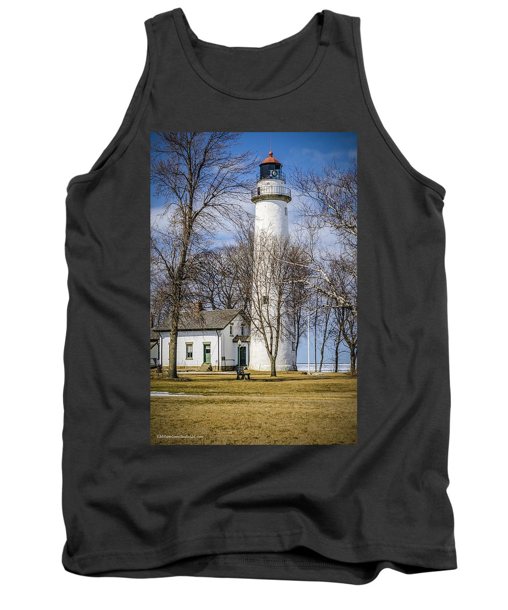 Pointe Aux Barques Lighthouse Tank Top featuring the photograph Pointe Aux Barques Lighthouse by LeeAnn McLaneGoetz McLaneGoetzStudioLLCcom