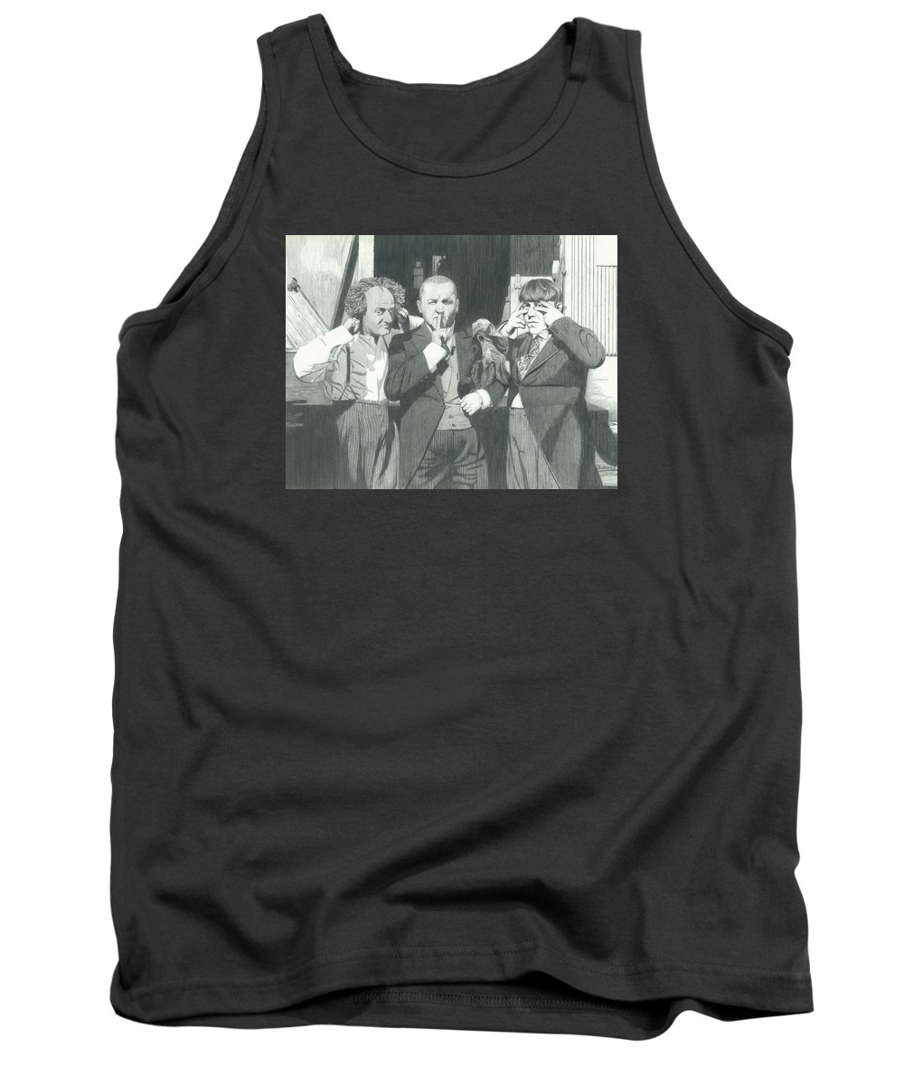 Celebrities Tank Top featuring the drawing 3 Stooges And A Monkey by Dean Pratali