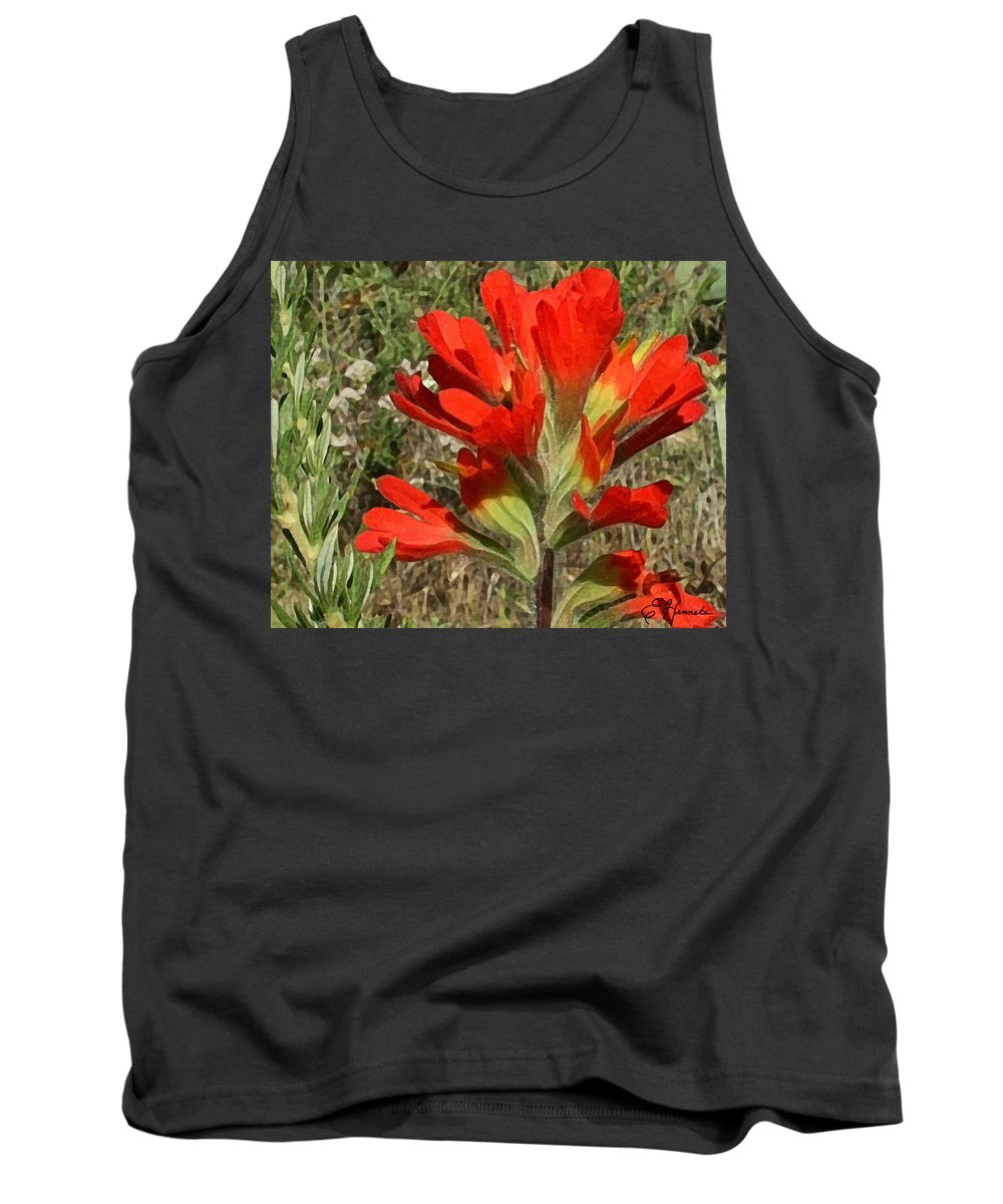 Texas Paint Brush Tank Top featuring the painting Texas Paintbrush by Ellen Henneke