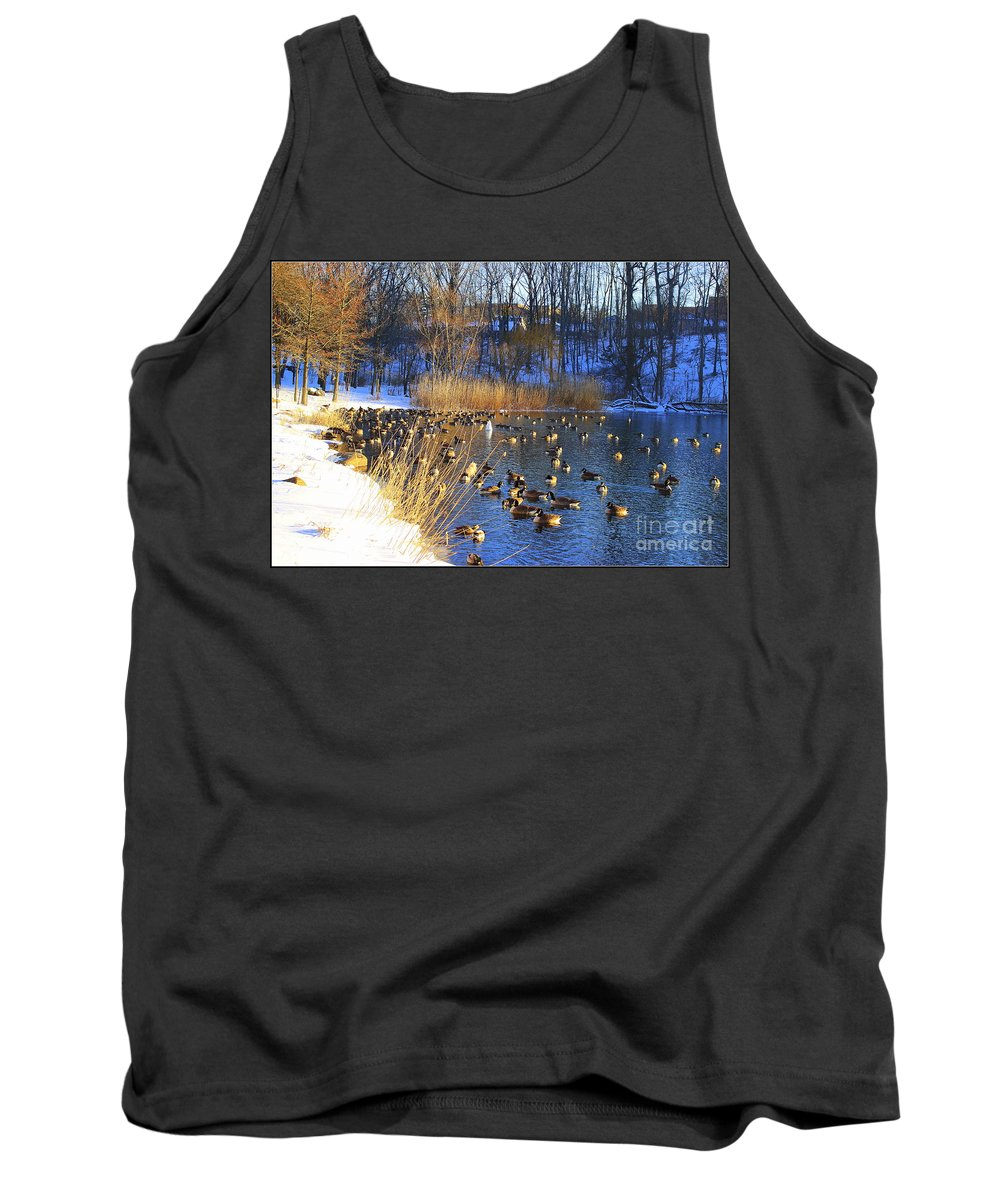 Winter Tank Top featuring the photograph Winter By The Lake by Dora Sofia Caputo Photographic Design and Fine Art