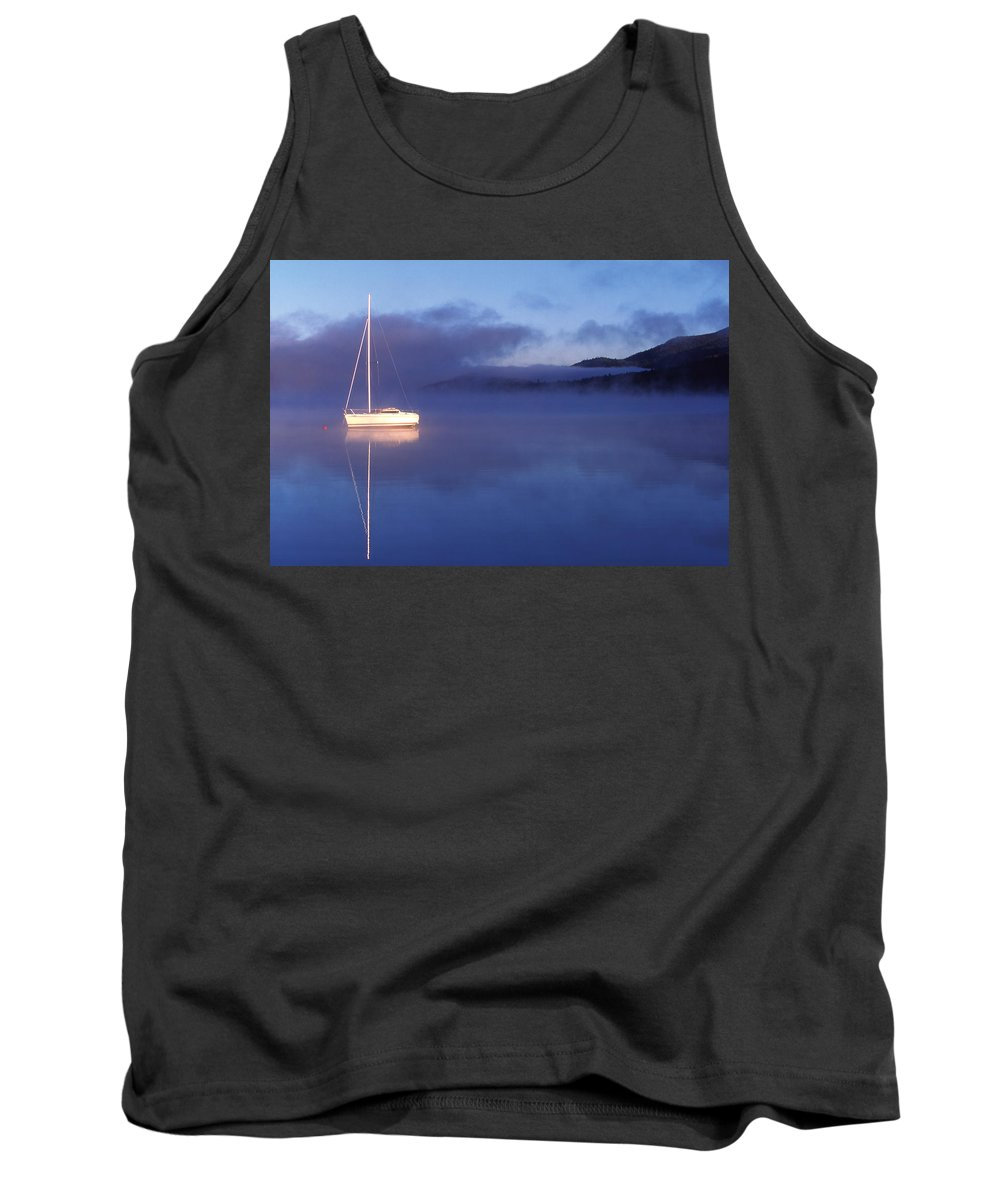 Aloneness Tank Top featuring the photograph 3525-0188-18, Misty Lake Tremblant by Alan Marsh