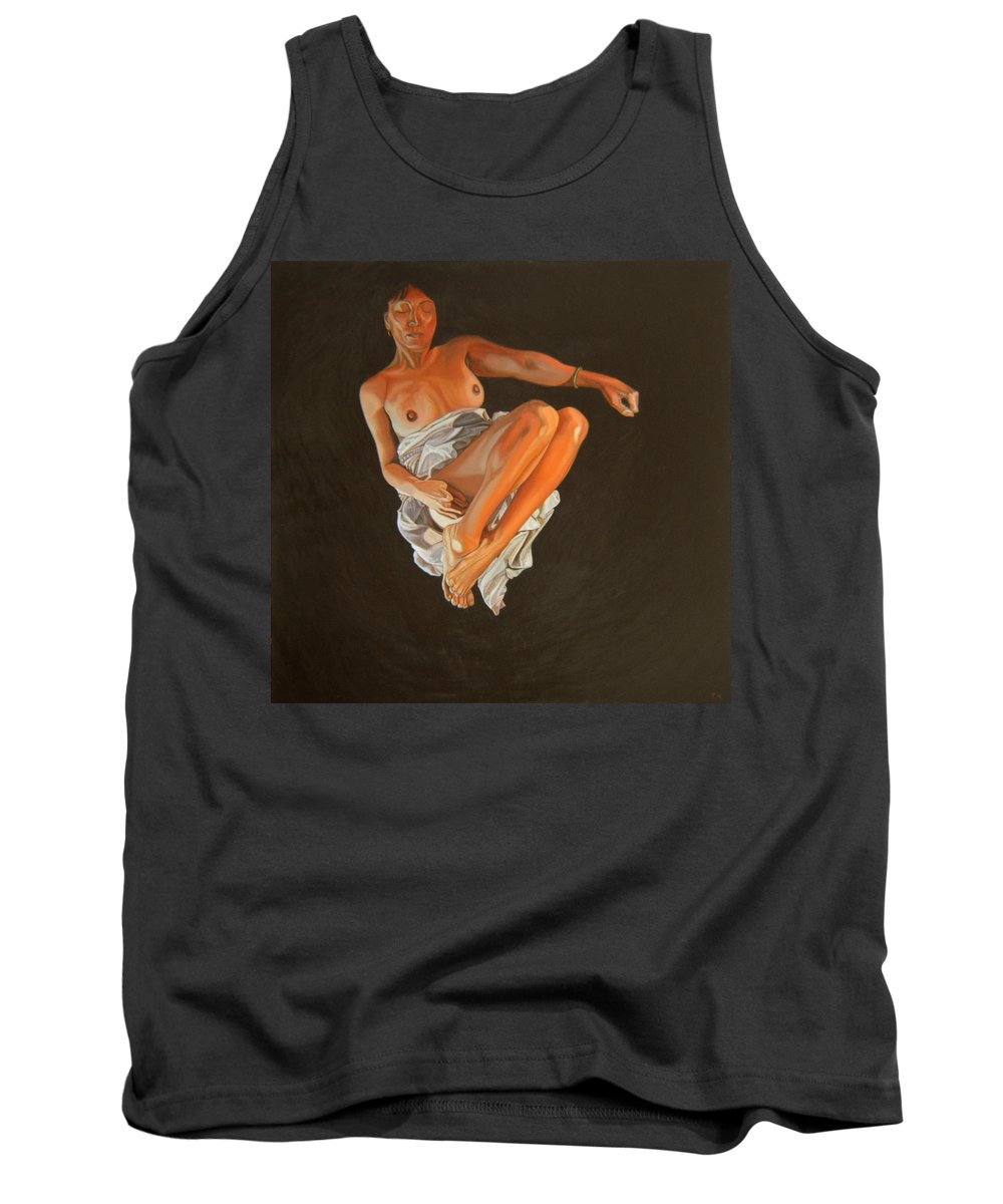 Semi-nude Tank Top featuring the painting 4 30 Am by Thu Nguyen