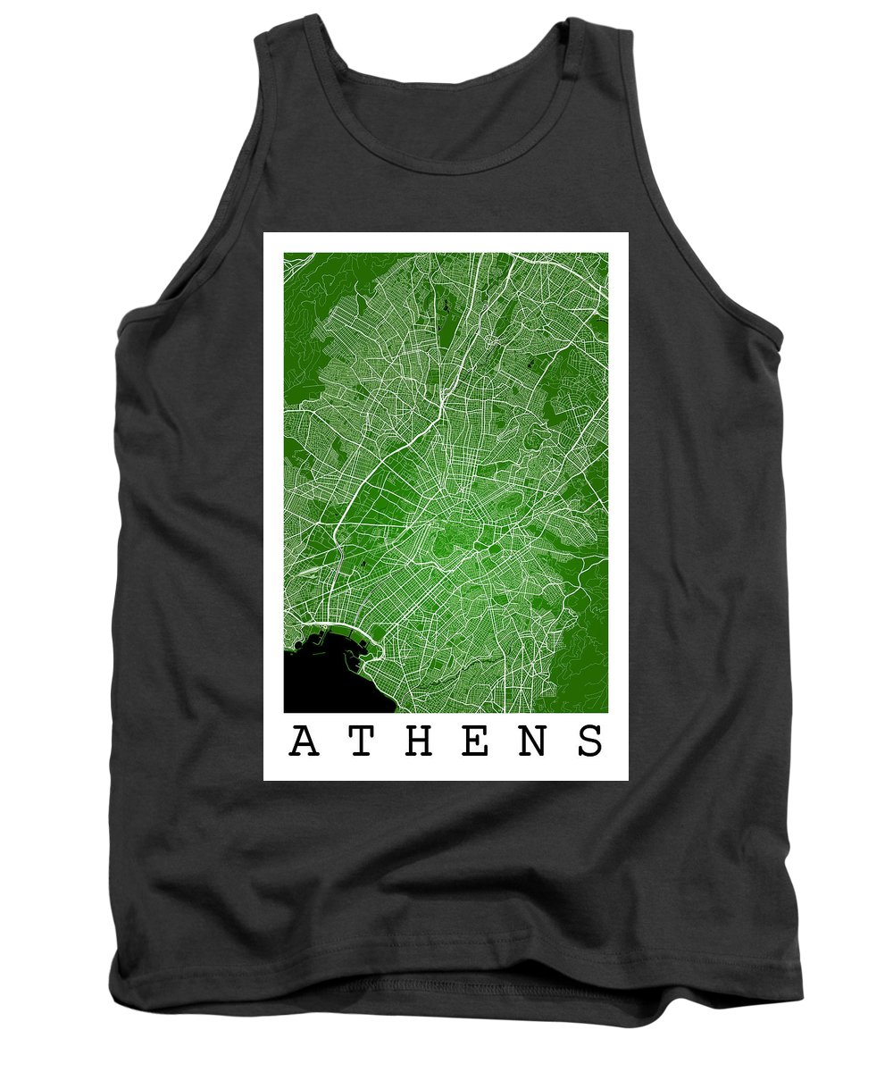 Road Map Tank Top featuring the digital art Athens Street Map - Athens Greece Road Map Art On Color by Jurq Studio