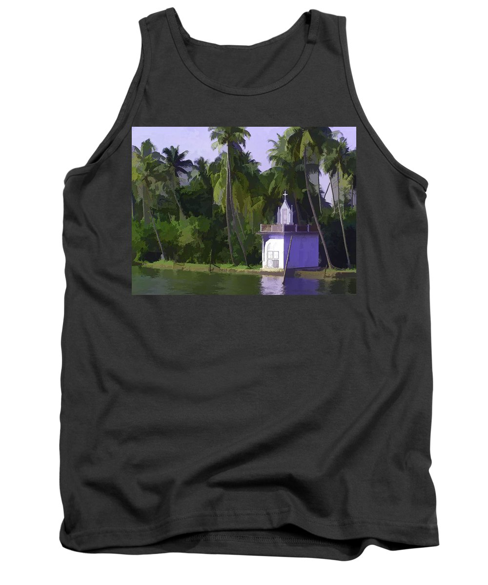 Building Tank Top featuring the digital art Church Located Next To A Canal by Ashish Agarwal