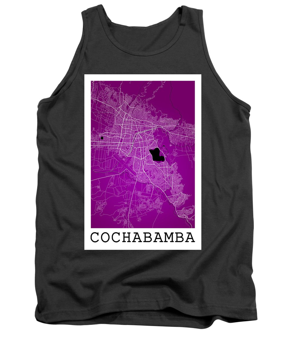 Road Map Tank Top featuring the digital art Cochabamba Street Map - Cochabamba Bolivia Road Map Art On Color by Jurq Studio