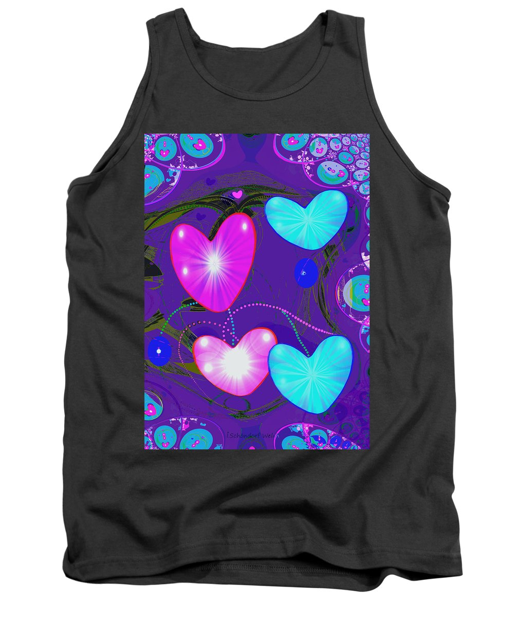 Abstract Tank Top featuring the painting 472 - Valentine Hearts ... by Irmgard Schoendorf Welch