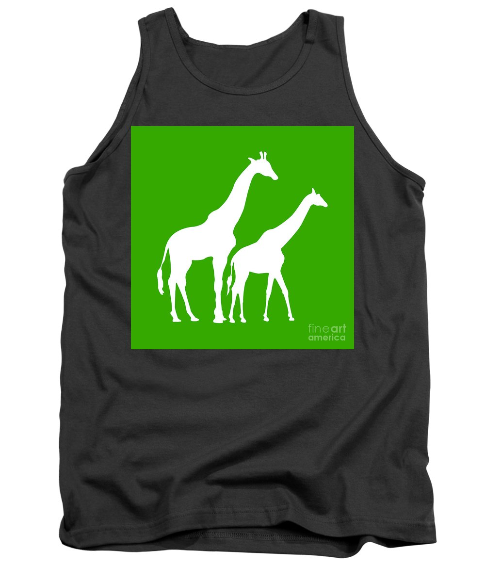 Graphic Art Tank Top featuring the digital art Giraffe In Green And White by Jackie Farnsworth