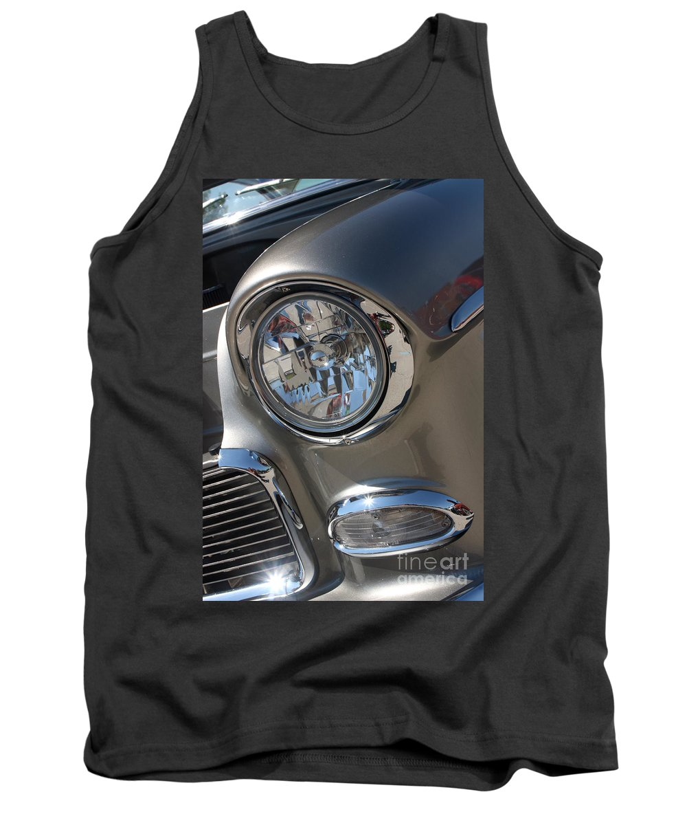 1955 Chevrolet Bel Air Tank Top featuring the photograph 55 Bel Air Headlight-8200 by Gary Gingrich Galleries