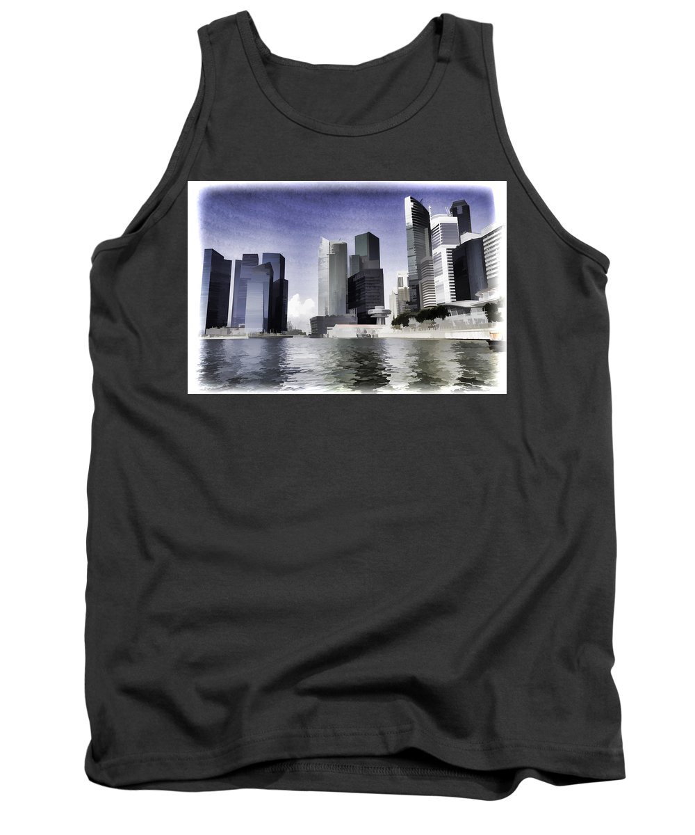 Building Tank Top featuring the photograph Financial District Of Singapore And View Of The Water In Singapore by Ashish Agarwal