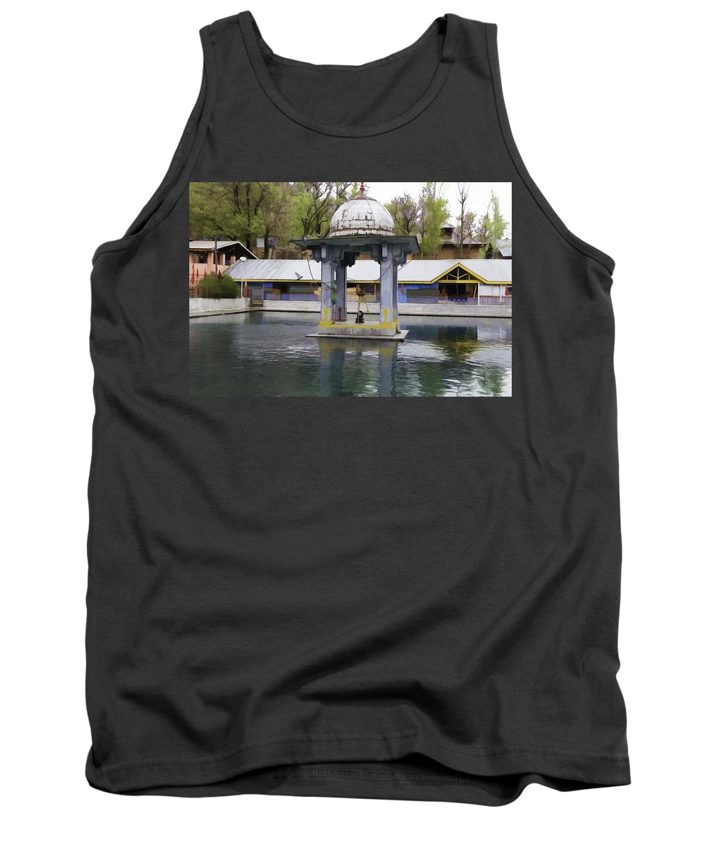 Building Tank Top featuring the photograph Premises Of The Hindu Temple At Mattan With A Water Pond by Ashish Agarwal
