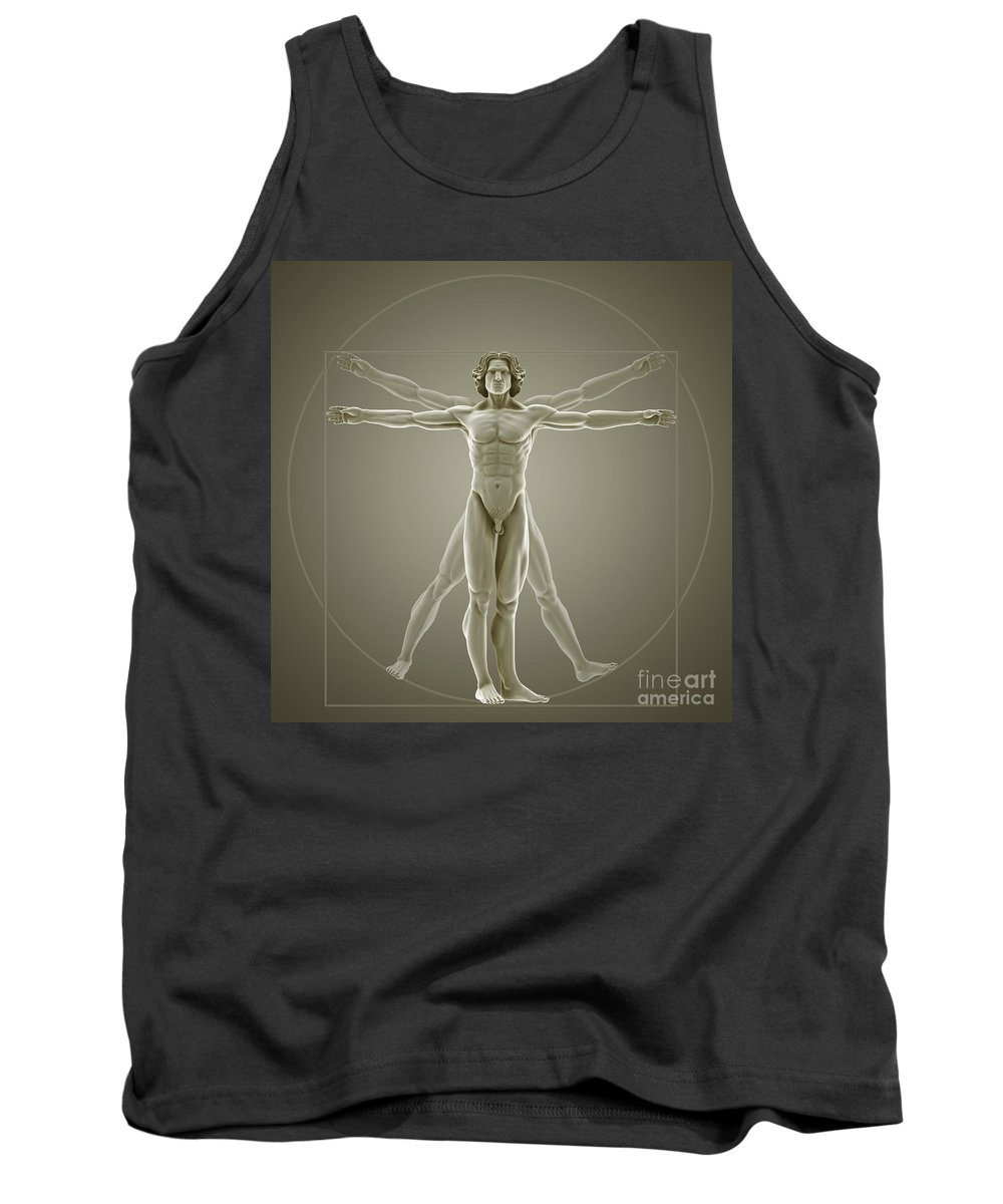 Biomedical Illustration Tank Top featuring the photograph Vitruvian Man by Science Picture Co