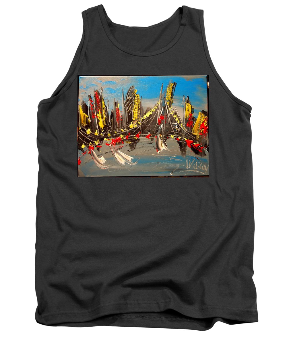 Tank Top featuring the painting City by Mark Kazav