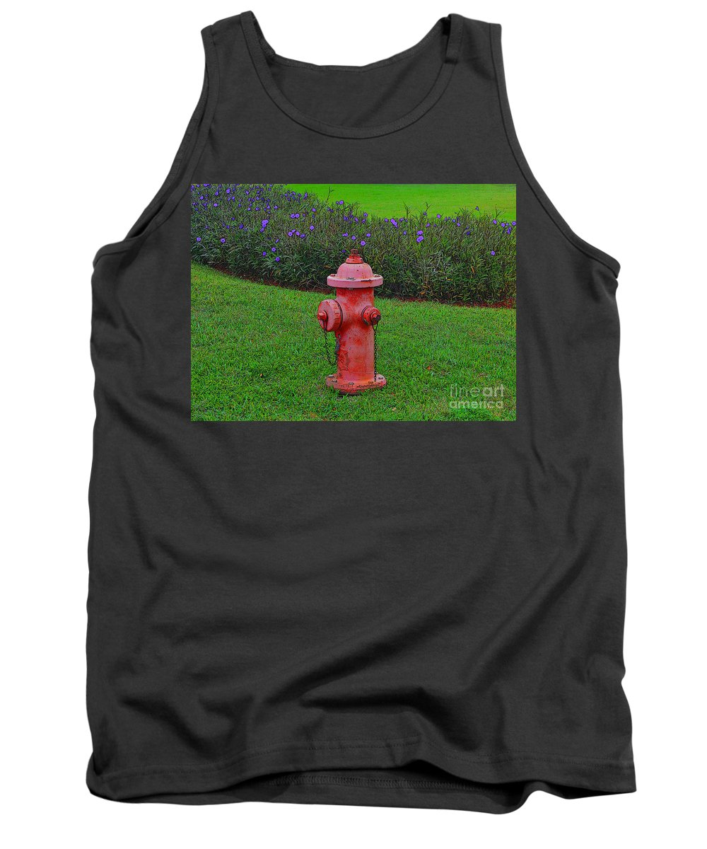 Fire Hydrant Tank Top featuring the photograph 62- Puppy Garden by Joseph Keane