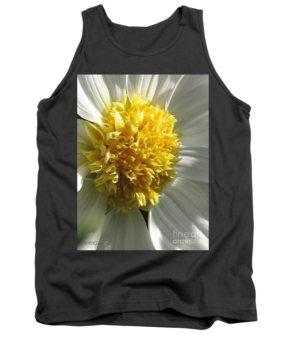 Mccombie Tank Top featuring the painting Dahlia Named Platinum Blonde by J McCombie