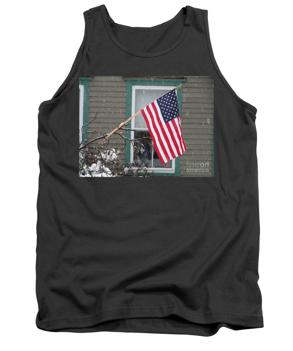 #762 D68 American Flag Winter Tank Top featuring the photograph #762 D68 American Flag Winter by Robin Lee Mccarthy Photography