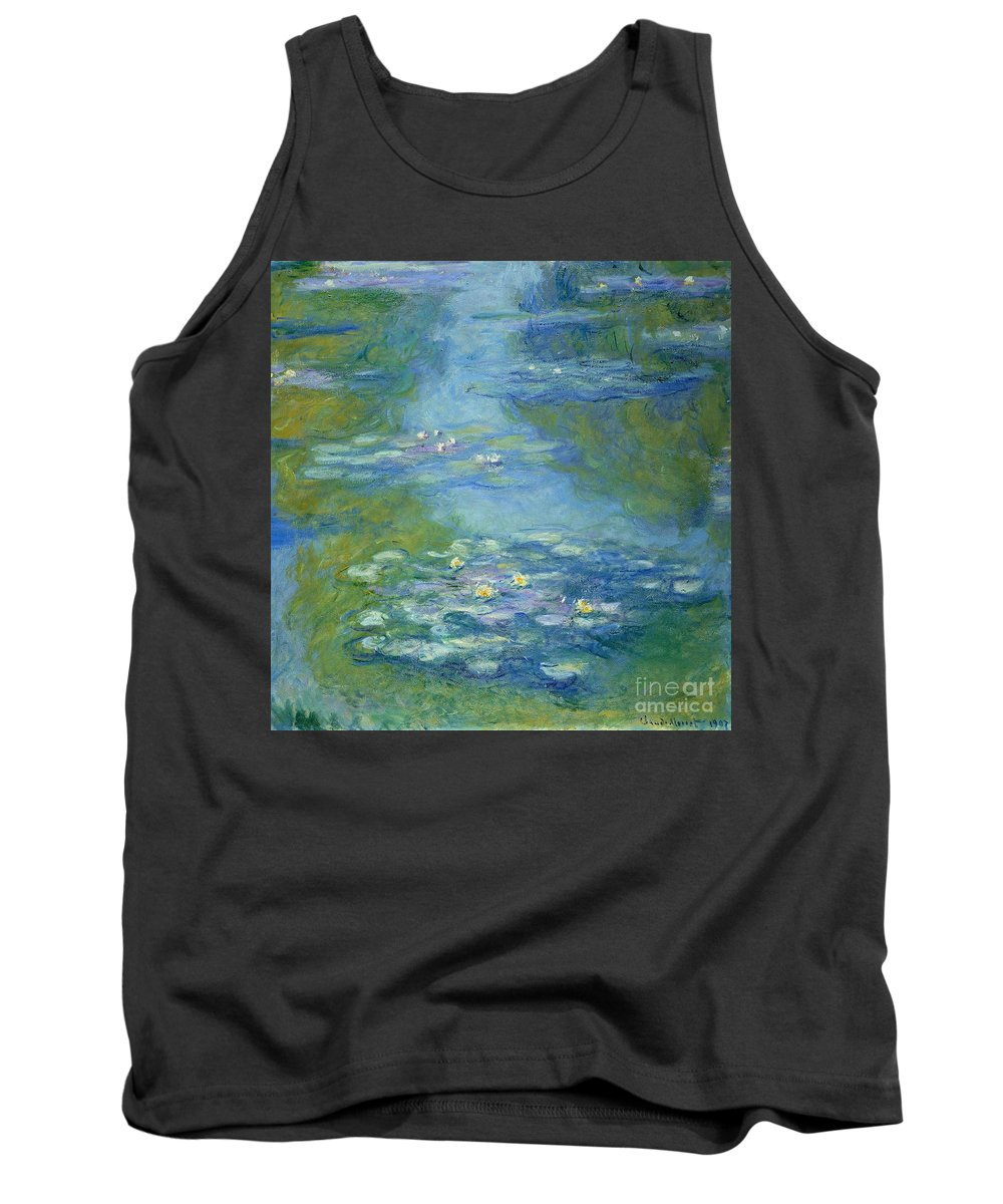 French Tank Top featuring the painting Waterlilies by Claude Monet
