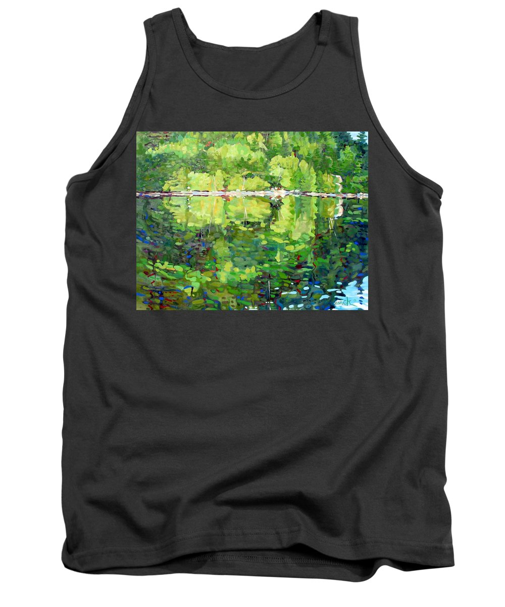 911 Tank Top featuring the painting 911-sherborne Lake by Phil Chadwick
