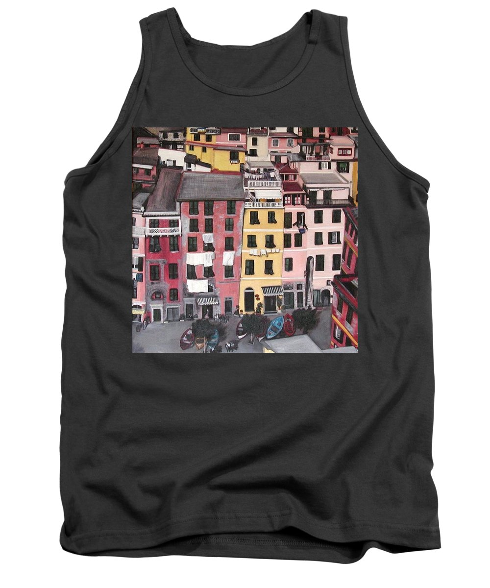 Vernazza Tank Top featuring the painting A Bird's Eye View Of Cinque Terre by Quin Sweetman