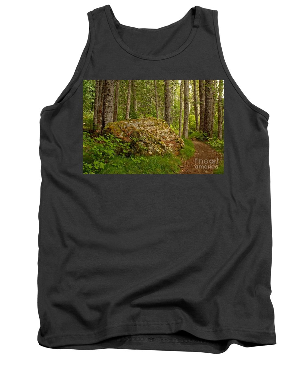 Cheakamus Rainforest Tank Top featuring the photograph A Boulder In The Rainforest by Adam Jewell