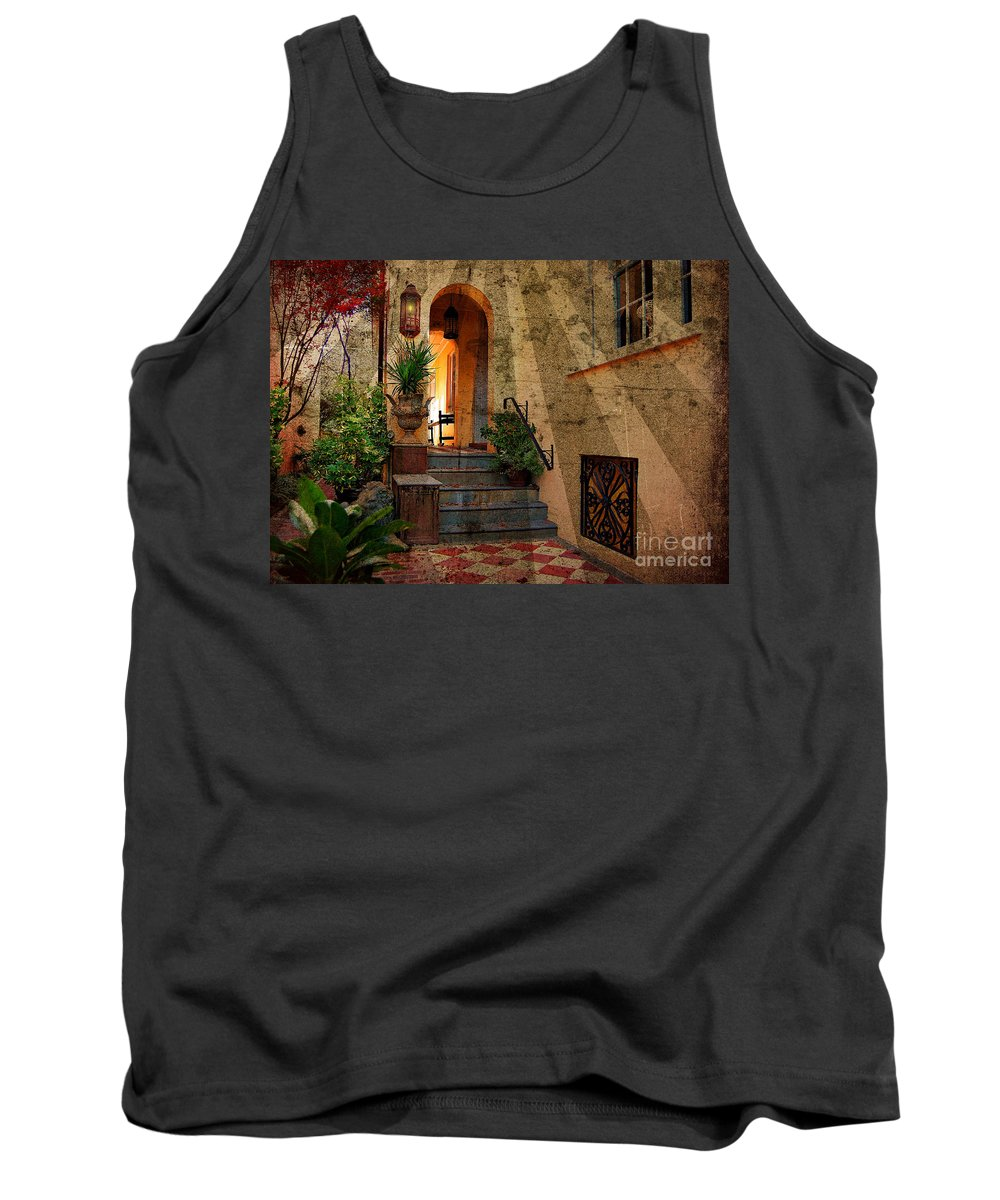 Textures Tank Top featuring the photograph A Charleston Garden by Kathy Baccari