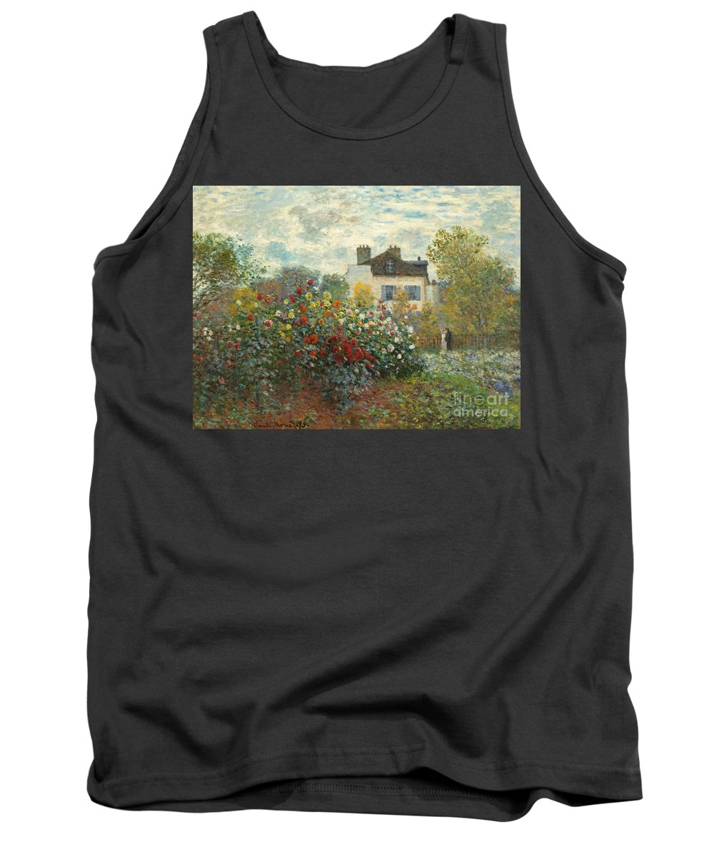 French Tank Top featuring the painting A Corner Of The Garden With Dahlias by Claude Monet