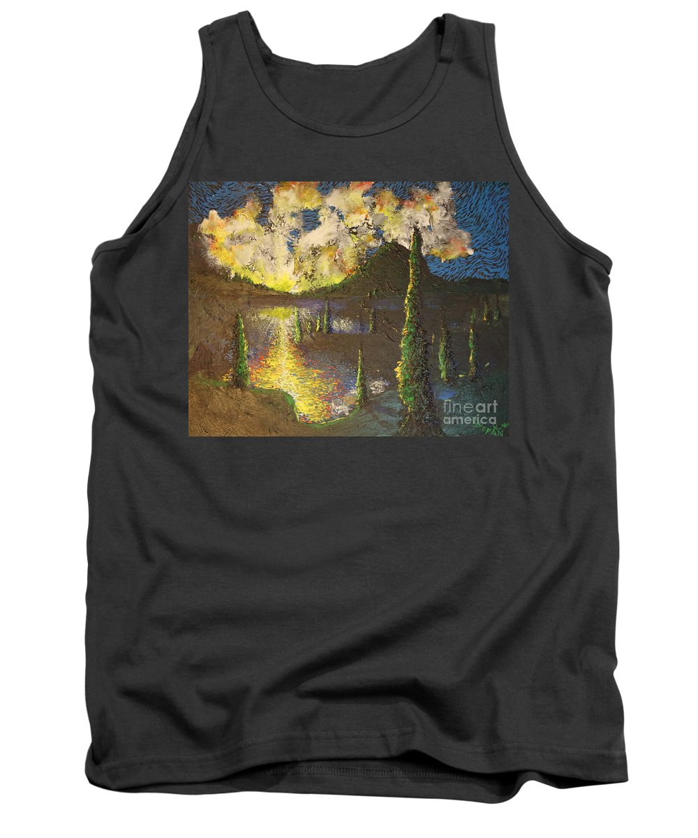 Landscape Tank Top featuring the painting A Cypress Congregation by Stefan Duncan