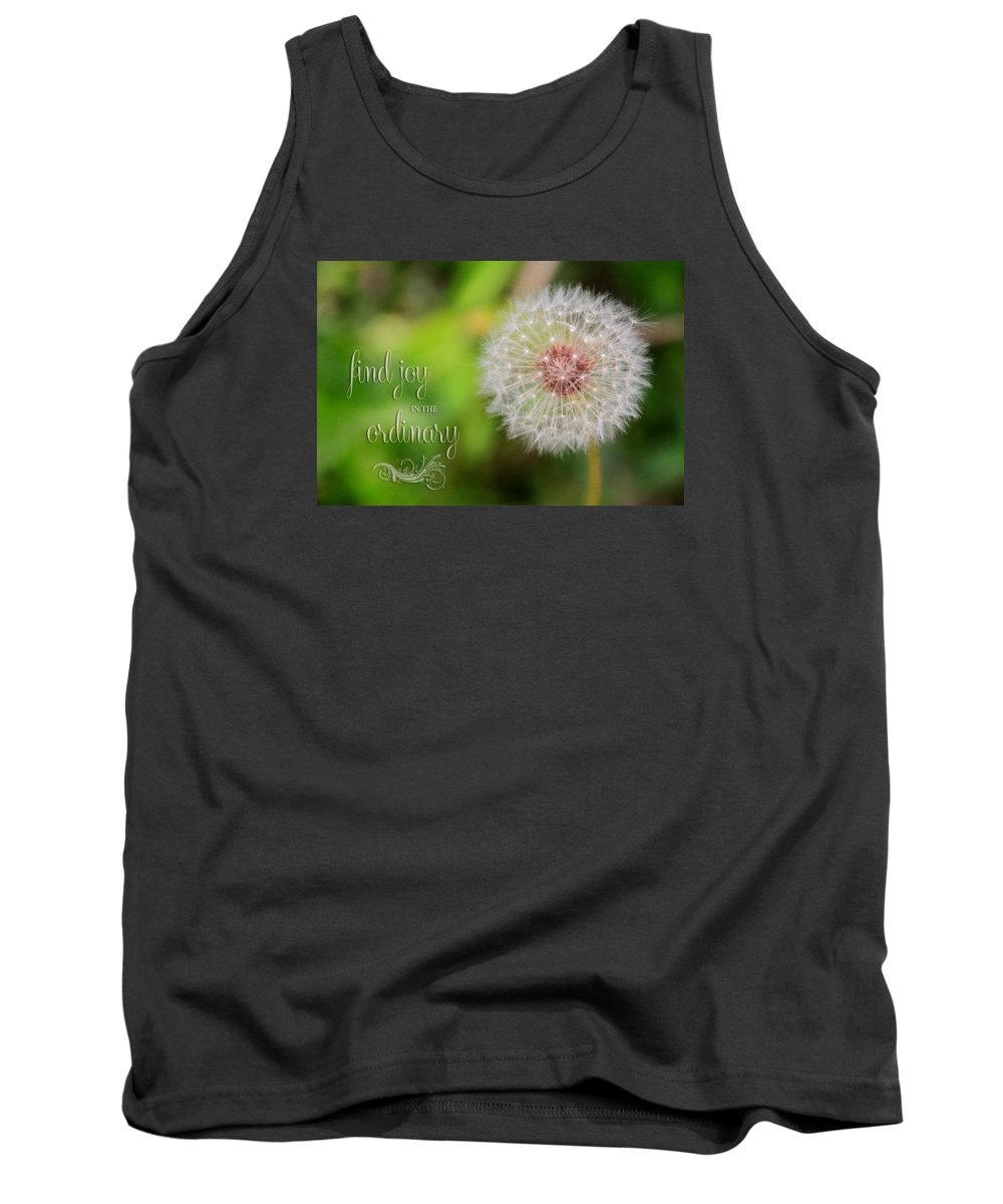 Flower Artwork Tank Top featuring the photograph A Dandy Dandelion With Message by Mary Buck