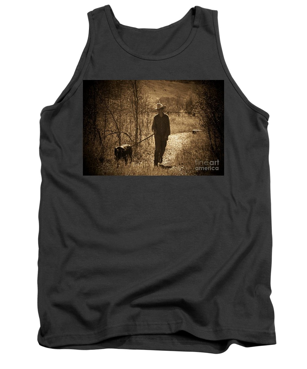 Dog Tank Top featuring the photograph A Dog And His Boy by Brandi Maher