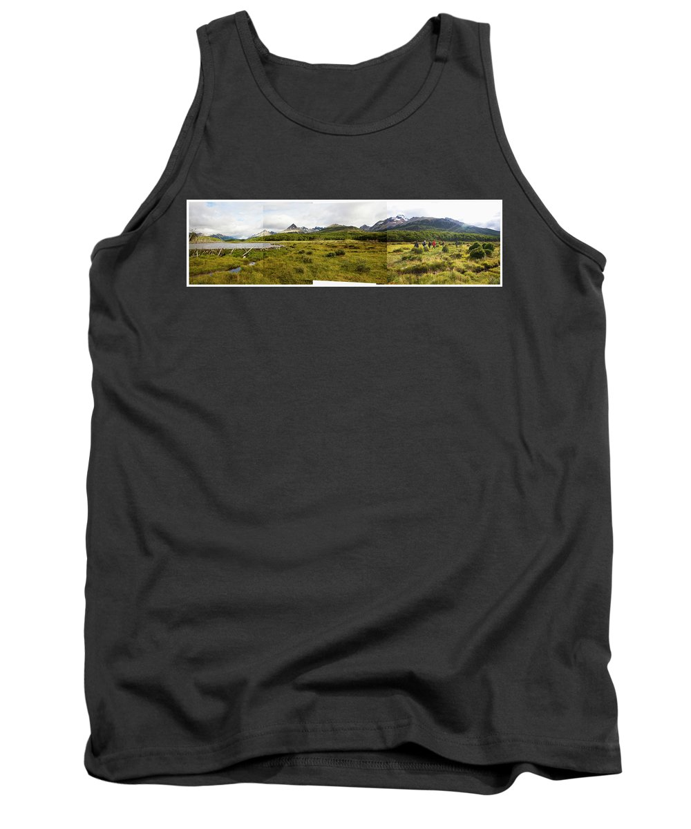 Andes Tank Top featuring the photograph A Group Of Hikers Walk by Matthew Wakem