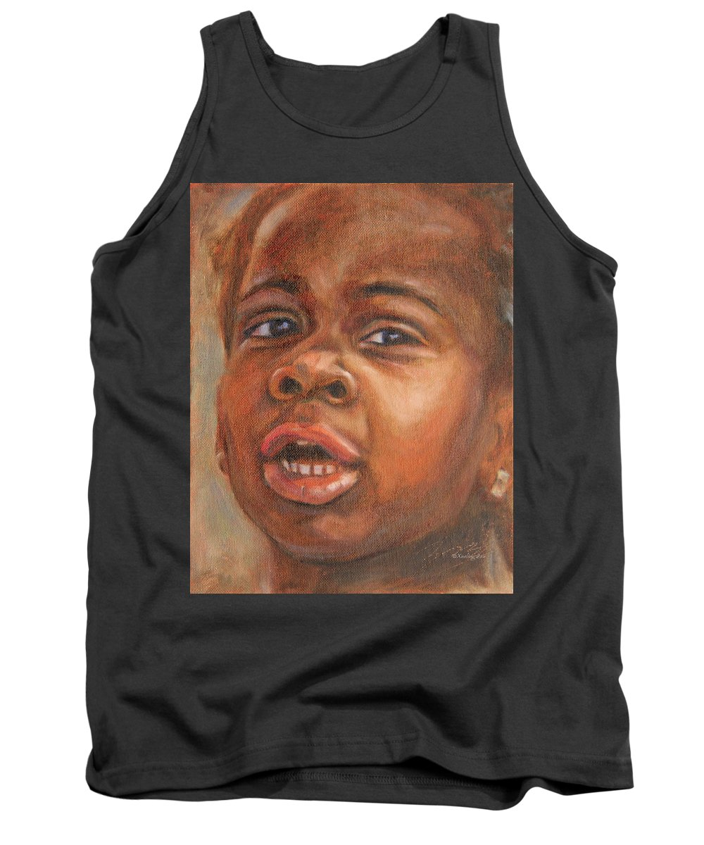 New Yorker Tank Top featuring the painting A Little New Yorker by Xueling Zou