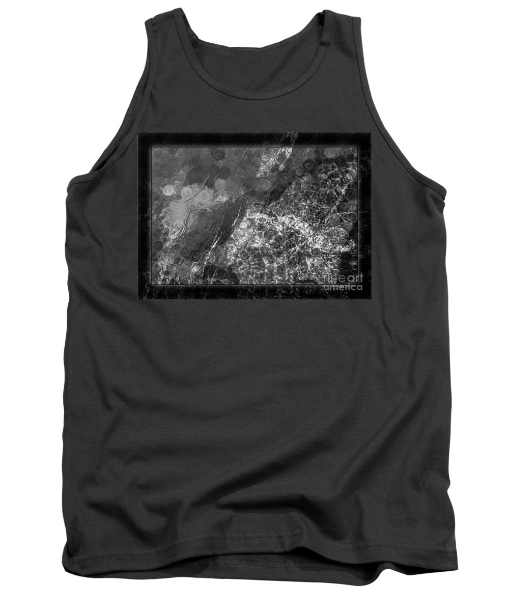 5x7 Tank Top featuring the painting A Magical Face In The Water Abstract Black And White Painting by Omaste Witkowski