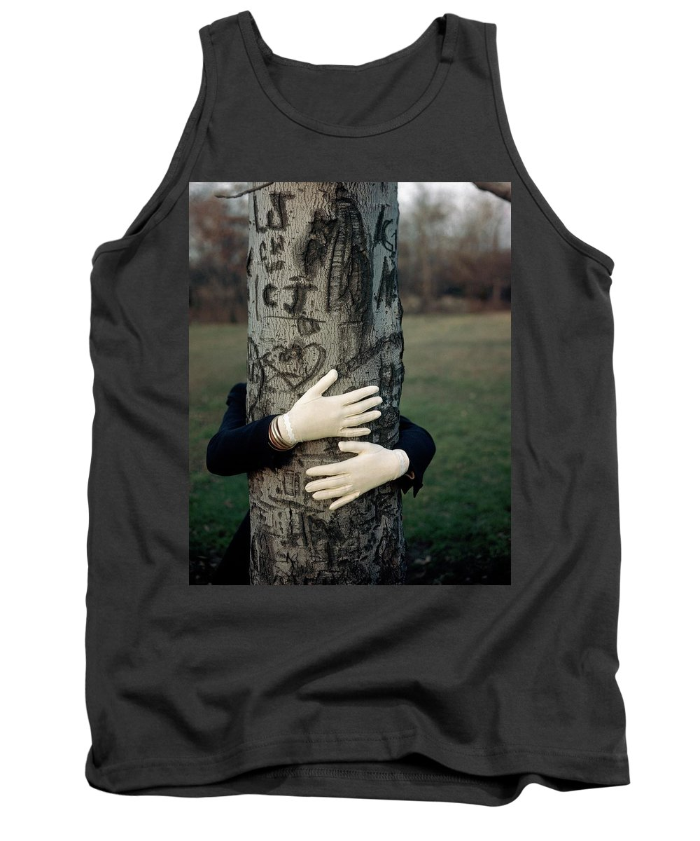 Fashion Tank Top featuring the photograph A Model Hugging A Tree by Frances Mclaughlin-Gill