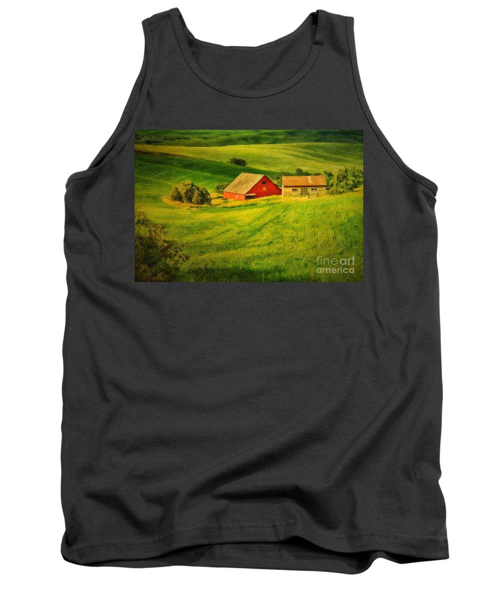 A Palouse Farm Tank Top featuring the photograph A Palouse Farm by Priscilla Burgers