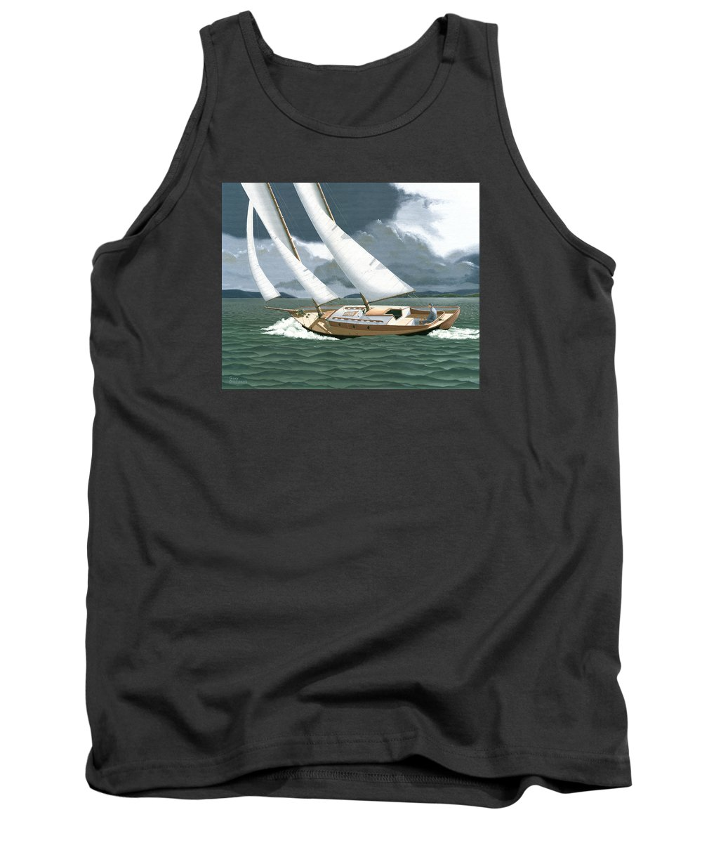 Gulf Islands Tank Top featuring the painting A Passing Squall by Gary Giacomelli