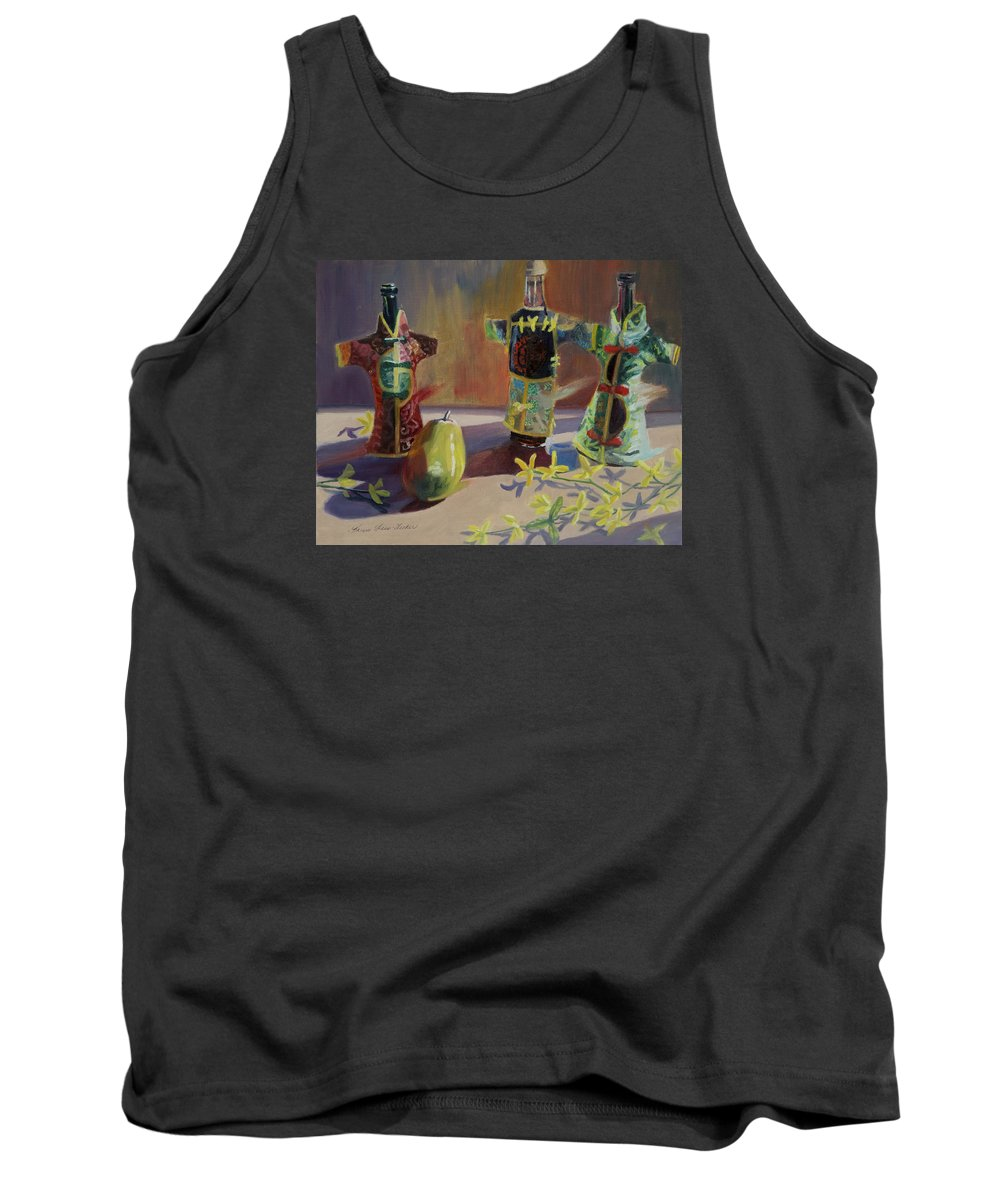 Oil Tank Top featuring the painting A Pear And Three Of A Kind by Karen Fess