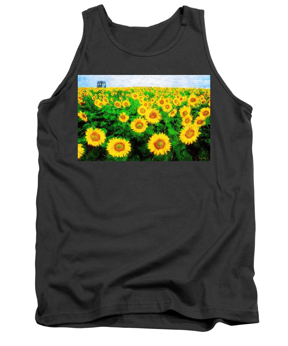Sunflower Tank Top featuring the painting A Sunny Day with Vincent by Sandy MacGowan