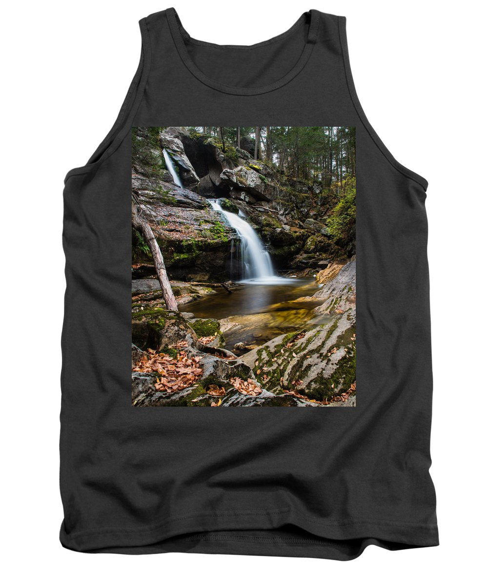 Kent Falls State Park Tank Top featuring the photograph A Touch Of Color by Geoffrey Bolte