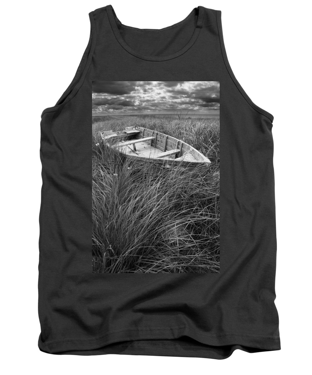 Shipwreck Tank Top featuring the photograph Abandoned Row Boat Along The Shoreline On Prince Edward Island by Randall Nyhof