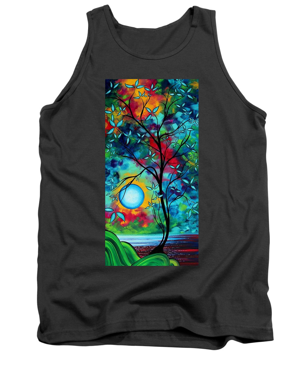 Art Tank Top featuring the painting Abstract Art Landscape Tree Blossoms Sea Painting Under The Light Of The Moon I By Madart by Megan Duncanson
