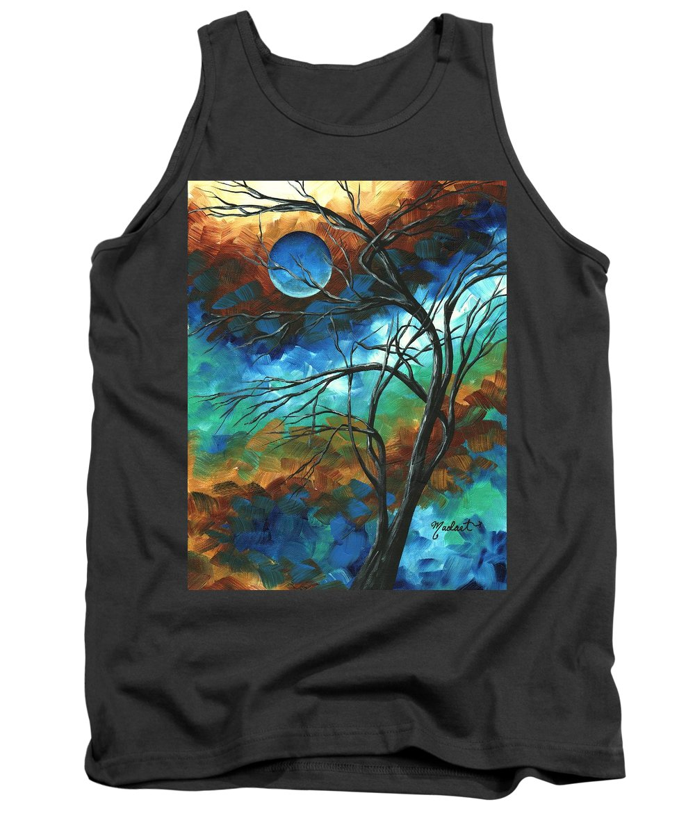 Abstract Tank Top featuring the painting Abstract Art Original Colorful Painting Mystery Of The Moon By Madart by Megan Duncanson