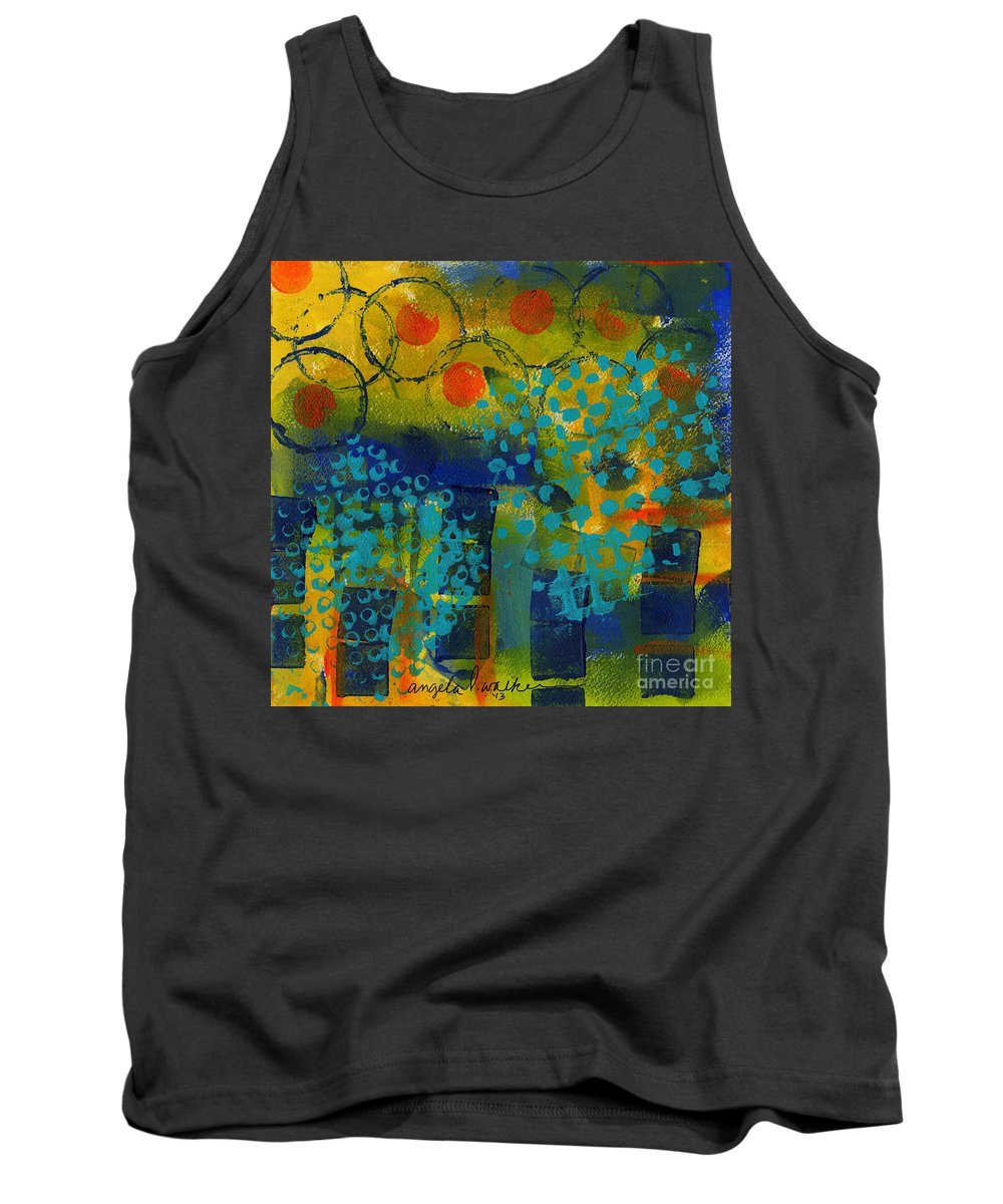 Abstract Mixed Media Tank Top featuring the painting Abstract Expressions - Background Art by Angela L Walker