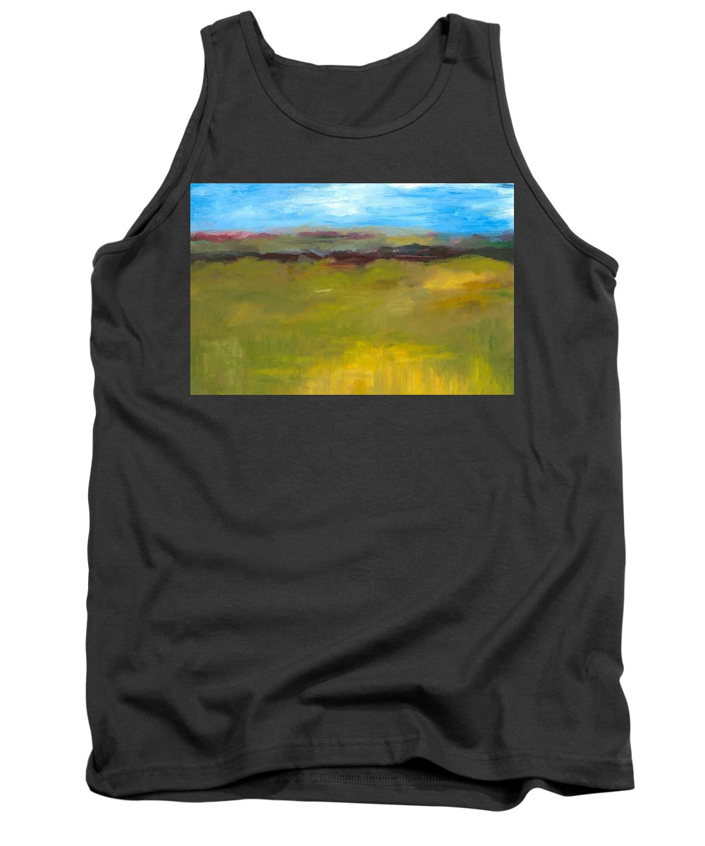 Abstract Expressionism Tank Top featuring the painting Abstract Landscape - The Highway Series by Michelle Calkins
