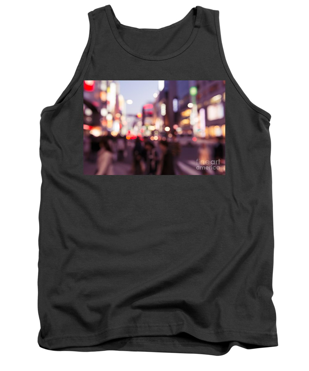 Abstract Tank Top featuring the photograph Abstract Out-of-focus City Scenery With Colorful Lights by Oleksiy Maksymenko