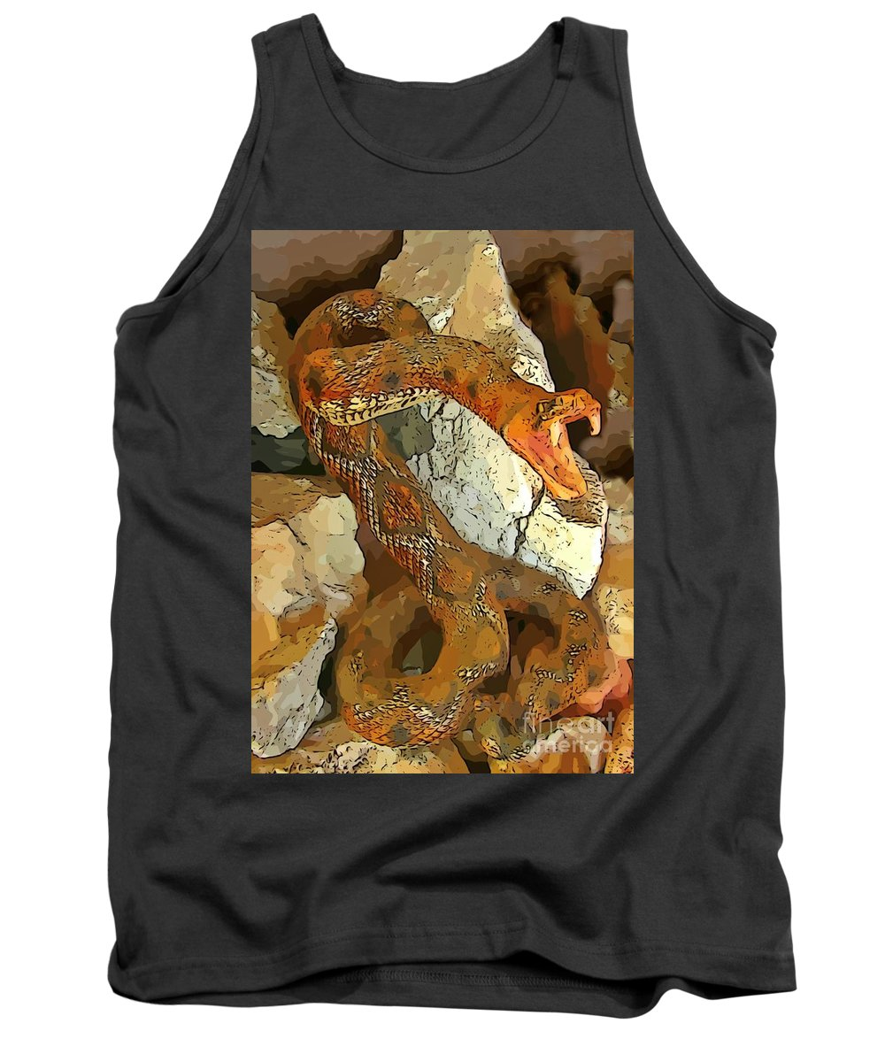 Abstract Rattlesnake Tank Top featuring the digital art Abstract Rattlesnake by John Malone