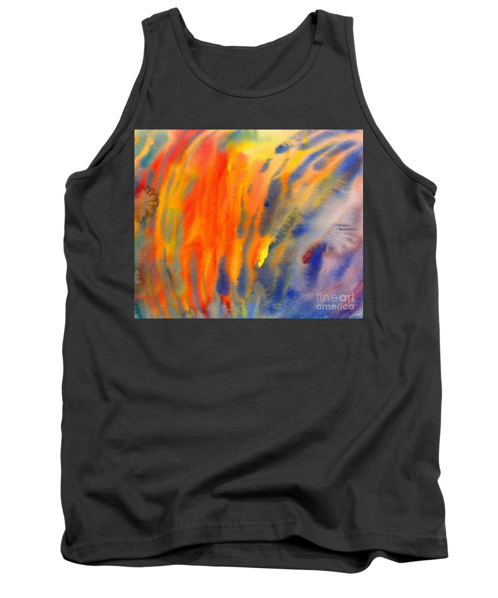 Abstract Tank Top featuring the painting Abstract Watercolor Painting With Fire Flames by Kerstin Ivarsson