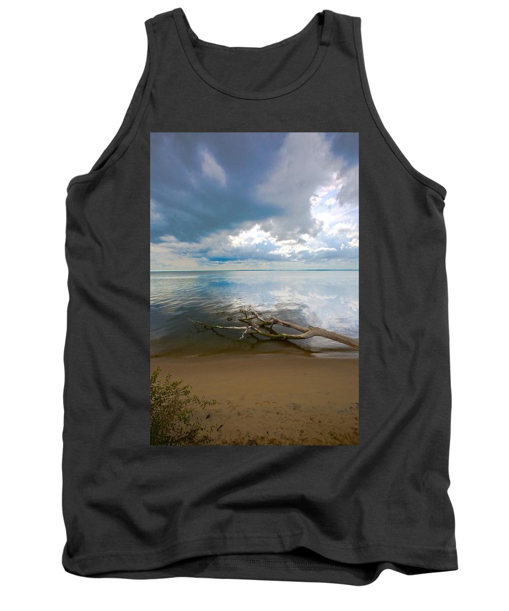 Dirft Wood; Seascapes; Landscapes; Ocean; Water; Tree; Elegant Memories Photography; Em Photography; Regina Williams; Clouds; Tank Top featuring the photograph Adrift by Regina Williams