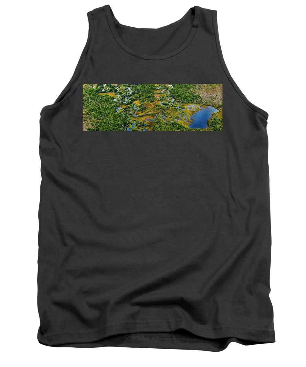 Tank Top featuring the photograph Aerial Of A Wetland, Over Northern by Mathieu Dupuis